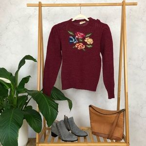 Vintage 80s Red Rose Floral Chunky Cropped Sweater